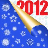 Blue New Year background. Blue background with snowflakes and large numbers 2012 stock illustration