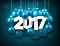 Blue 2017 New Year background. Aquamarine 2017 New Year background with Christmas balls. Vector illustration Stock Photos