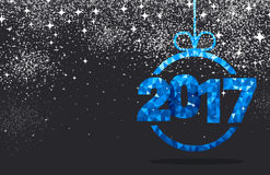 Blue 2017 New Year background. Black 2017 New Year background with blue figures. Vector illustration Stock Photo