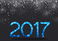 Blue 2017 New Year background. Black 2017 New Year background with blue figures. Vector illustration Stock Photography