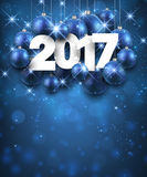 Blue 2017 New Year background. Blue 2017 New Year background with Christmas balls. Vector illustration Stock Photo