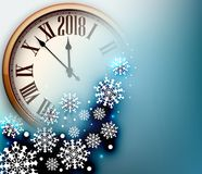 2018 New Year background with clock. Blue 2018 New Year background with clock and snowflakes. Vector illustration Stock Images