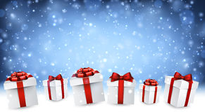 Blue New Year background with gifts. Stock Image