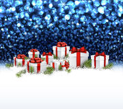 Blue New Year background with gifts. Blue Christmas background with gifts and snow. Vector illustration Stock Photo