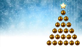 Blue background with golden Christmas tree. Blue New Year background with golden Christmas balls. Vector illustration Stock Image