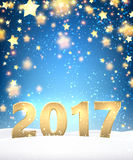 Blue 2017 New Year background. Blue 2017 New Year background with golden stars. Vector illustration Stock Images