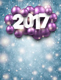 Blue 2017 New Year background. 2017 New Year background with lilac Christmas balls. Vector illustration Royalty Free Stock Photo