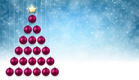 Blue background with pink Christmas tree. Blue New Year background with pink Christmas balls. Vector illustration Stock Images
