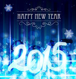 Blue new year background. With sparkles and snowflakes Stock Photos