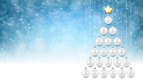 Blue background with white Christmas tree. Blue New Year background with white Christmas balls. Vector illustration Royalty Free Stock Images