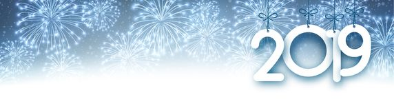 Blue 2019 New Year banner with fireworks. Vector background royalty free illustration