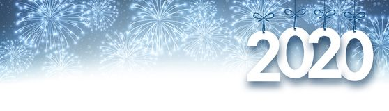 Blue 2020 New Year banner with fireworks. Vector background stock illustration