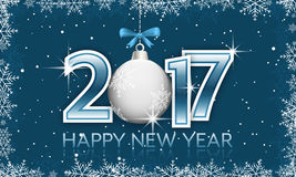 Blue 2017 New Year banner with hanging bauble and bow. royalty free illustration