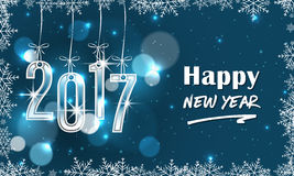 Blue 2017 New Year banner with snowflakes. stock illustration