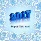 Blue New Year 2017 on Blue background Royalty Free Stock Photography