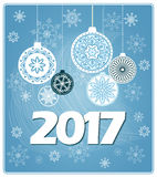 Blue new year card 2017 Stock Images