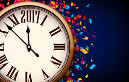 Blue 2017 New Year clock background. Blue 2017 New Year background with clock and confetti. Vector illustration Royalty Free Stock Photography