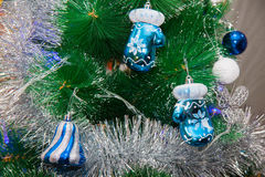 Blue New year decor on a branch Royalty Free Stock Images