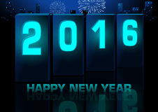 Blue New Year Greeting Card Stock Photo
