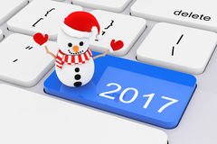 Blue 2017 New Year Key with Snowman on White PC Keyboard. 3d Ren. Blue 2017 New Year Key with Snowman on White PC Keyboard extreme closeup. 3d Rendering Stock Image