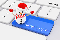 Blue New Year Key with Snowman on White PC Keyboard. 3d Renderin Royalty Free Stock Images