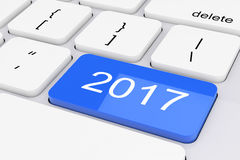 Blue 2017 New Year Key on White PC Keyboard. 3d Rendering. Blue 2017 New Year Key on White PC Keyboard extreme closeup. 3d Rendering Royalty Free Stock Images