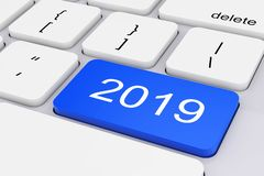 Blue 2019 New Year Key on White PC Keyboard. 3d Rendering. Blue 2019 New Year Key on White PC Keyboard extreme closeup. 3d Rendering royalty free illustration