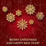 Blue New Year red card with golden Christmas-tree toys.  Stock Photos