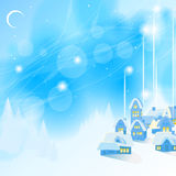 Blue New Year's background. Easy blue New Year's background with the village and fir-trees. A vector Royalty Free Stock Images