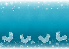 Blue New Year`s background with icy roosters - lollipops Stock Image