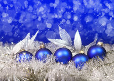 Blue New Year's balls  on a blue background Royalty Free Stock Images