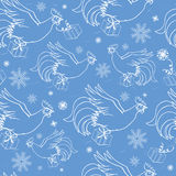 Blue new year`s seamless with flying roosters Royalty Free Stock Images
