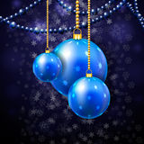 Blue New Year's spheres Stock Image