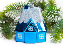 Blue New Year's toy small house Stock Photo