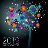 Blue New Year tree with sparkling fireworks on a blue background. For the new year 2019 vector illustration