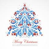 Blue New Year Tree. Vector illustrftion Royalty Free Stock Photo