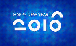 Blue 2016 New Year Vector Banner. Happy New Year vector 2016 banner template. Abstract background, geometric pattern. Simple and elegant greeting card design Stock Photography