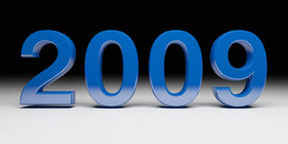 Blue new years 2009. Fine 3d image of 2009 new years day background Royalty Free Stock Photo