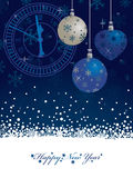 Blue new years background. Blue snowflake new years background with decorations and banner for text Royalty Free Stock Image