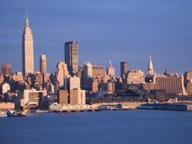 Blue New York. This is a late afternoon shot of the New York City skyline stock photography