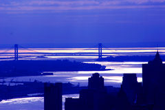 Blue New York. A View the Brooklyn Bridge in Manhattan, New York in Blue Royalty Free Stock Photo