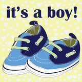 Blue newborn shoes for boy. It& x27;s a boy! Vector illustration on blue hearts on yellow pattern background Stock Photos