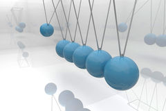 Blue newtons cradle Stock Photography