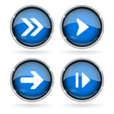 Blue Next buttons with chrome frame. Round glass shiny 3d icons with arrows. Vector illustration isolated on white background Stock Image