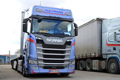 Blue Next Generation Scania S450 Semi Parked royalty free stock image
