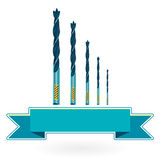 Blue nice classical metal drills on white Royalty Free Stock Photo