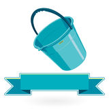 Blue nice classical plastic bucket with black handle on white Stock Photography