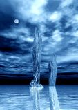 Blue night. Blue moon night 3d illustration Stock Photos