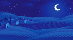 Blue Night. Vector abstract background of blue night over farm and fields Royalty Free Stock Images