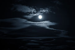 Blue night background. With moon and clouds Stock Photos